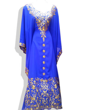 Golden Thread And Beads Work Chiffon Kaftan