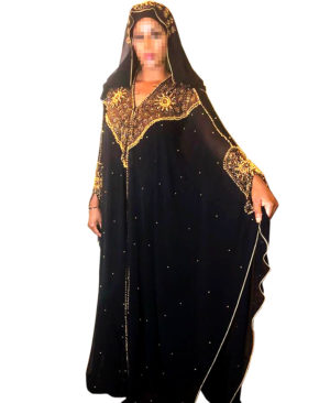 Golden Beads Stone Work Chiffon Kaftan