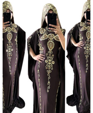 Golden Stylish Work Colour Stone Spandex Kaftan With Scarf