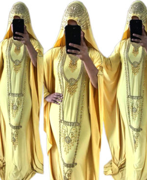 Golden Work Colour Stone Spandex Kaftan With Scarf