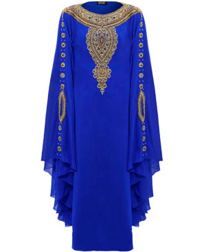 Golden Stone And Crystal Work Chiffon Kaftan