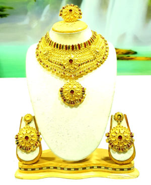 Chokar Floral Design Golden Plated Necklace