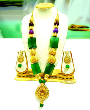 Colour Beads Heart Golden Plated Necklace Set