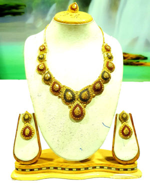 Colour Design Golden Plated Necklace Set