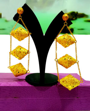 Long Premium Design Golden Plated Earring Set