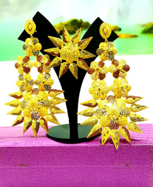 Floral Star Design Golden Plated Earring Set