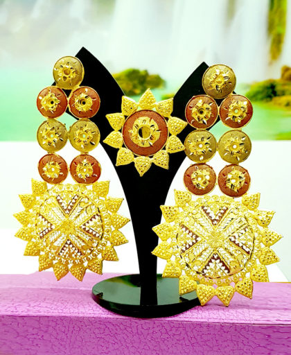 Star Colour Designer Golden Plated Earring Set