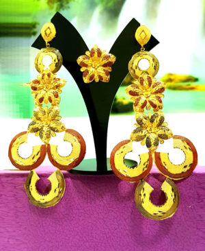 Rose Designs Golden Plated Earring Set