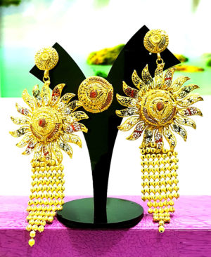 Golden Plated Sunflower Designer Earring Set