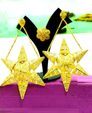 Star Shaped Designer Gold Plated Earrings Designs Set