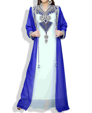 Silver and Colour Work Designer Jacket Chiffon Kaftan