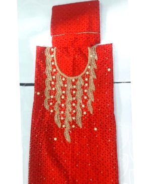 Cotton Dry Lace 3 Pieces Beads Work (DCL-0022)