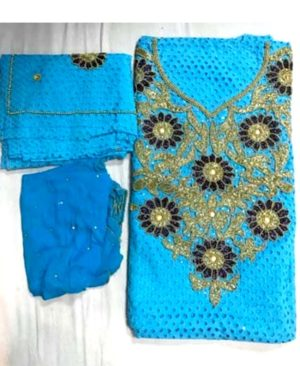 Cotton Dry Lace 3 Pieces Beads Work (DCL-004)