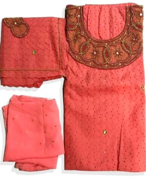 Cotton Dry Lace 3 Pieces Beads Work (DCL-009)
