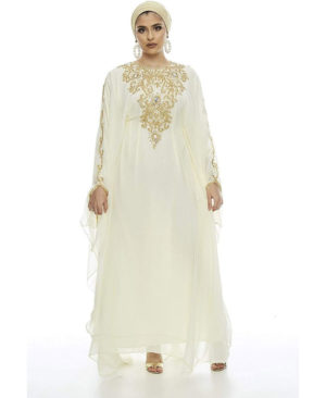 Moroccan Abaya Golden Beaded Dubai Kaftan