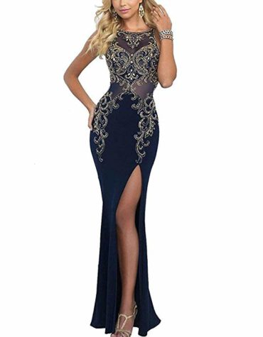 Women Mermaid Long Chiffon Slit Evening Gown Prom Dresses