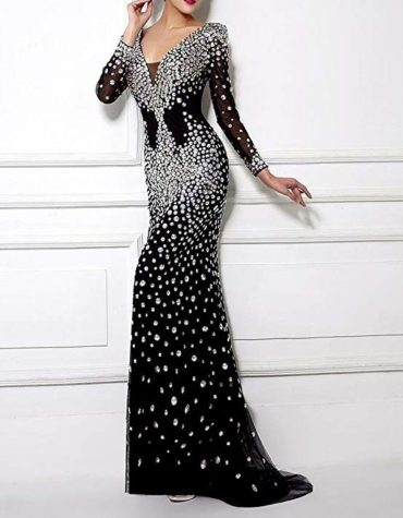 Beaded Mermaid Prom Long Sleeve Evening Formal Party Dress