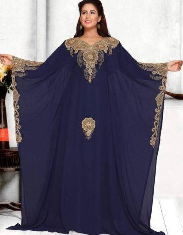 Women Chiffon Golden Crystal Work Long Dubai Kaftan