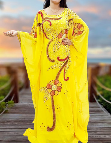 Dubai Kaftan Moroccan Yellow Dress with Embroidered Bead Stone Tikki Work Caftan