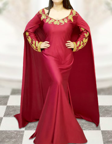 Lycra Long Cape Sleeve Prom Moroccan Party Wear African Attire Dresses for Women