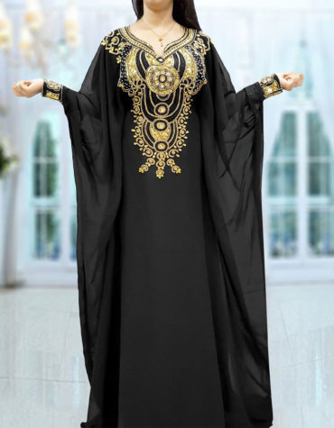 Gold Beaded Dubai Kaftan Black Chiffon African Dresses Abaya for Women Maxi Gown
