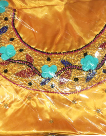 Shiny Yellow Weight Bridal Fabric Floral Style Dress Material with Mix Beads Embroidery