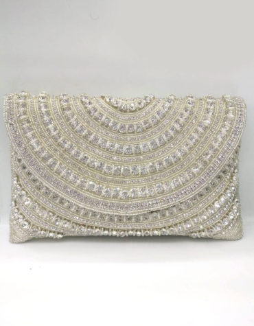 Handmade Silver Crystal Beaded Evening Silver Clutch for Women