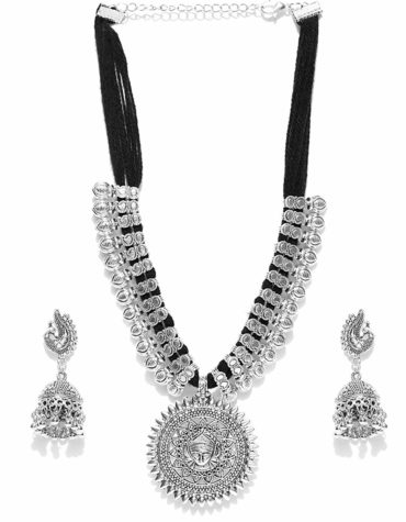 Antique German Silver Oxidised Plated Tribal Cotton Thread Necklace Earring Set For Women & Girls