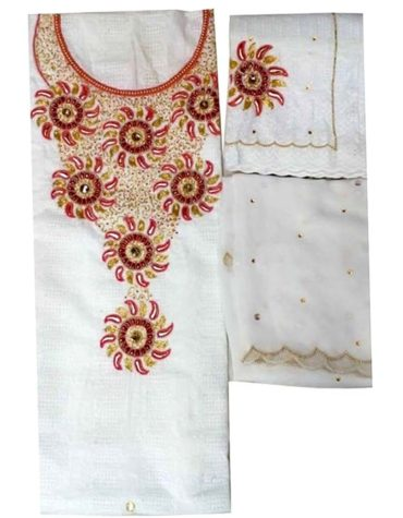 Latest Cotton African Attire Designer Dry Lace Dress White (DCL-017)