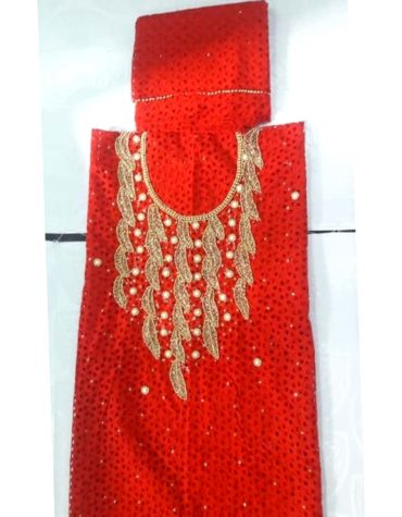 Latest African Designer Hollow Out Cotton Dry Lace Dress Red (DCL-022)