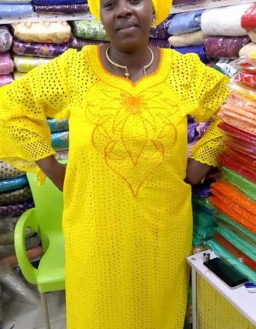 Latest Cotton African Designer Dry Lace Dress Yellow(DCL-032)