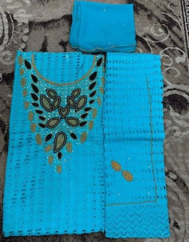 Cotton Turquoise Blue Dry Lace 3 Pieces Beads Floral Design Work (DCL-041)