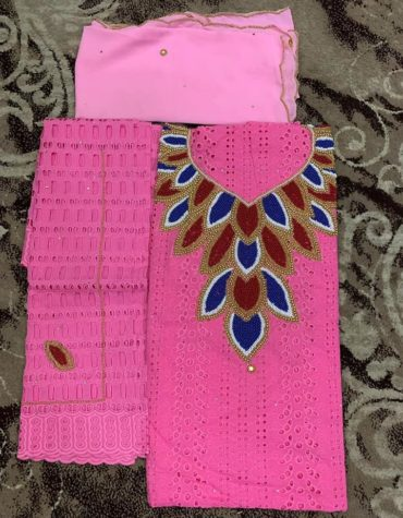 Latest African Designer Cotton Dry Lace Dress Pink (DCL-048)