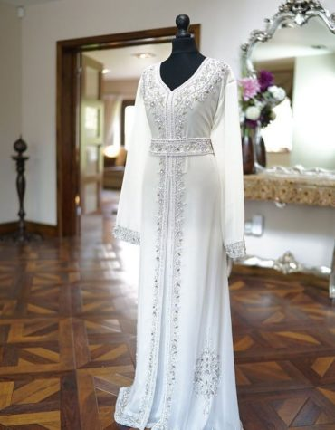 Wedding Abaya Long Maxi Formal Silver Beaded Dubai Kaftan for Women