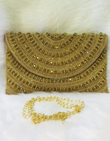 Handmade Gold Crystal Beaded Evening Party Copper Gold Clutch for Women