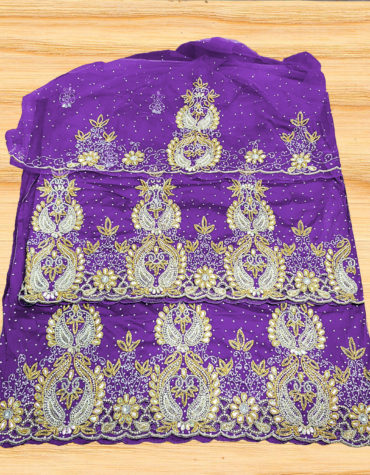 Nigerian George Wrapper Heavy Beaded Stone Taffeta Silk George Fabric with Blouse