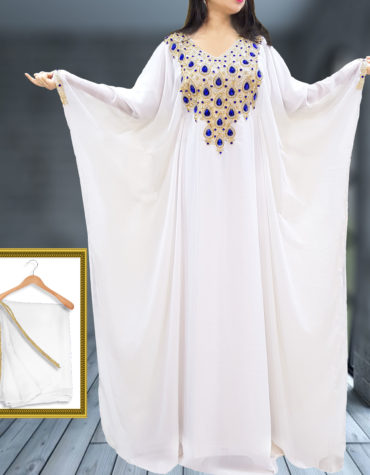 African Dress Crystal Stone Beaded Dubai Abaya White Chiffon Kaftan