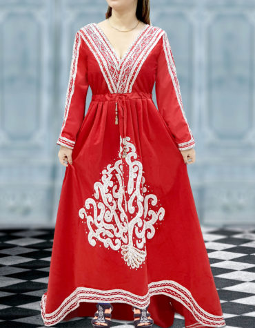 Red African Dress Embroidery Abayas for Women Dubai Plus Size Gown Moroccan Kaftan