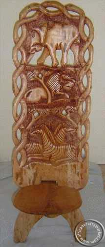 African hand carved wooden folding chair