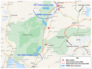 Map of the situation in North Kivu during the fighting against M23 in October 2013. Click to expand.
