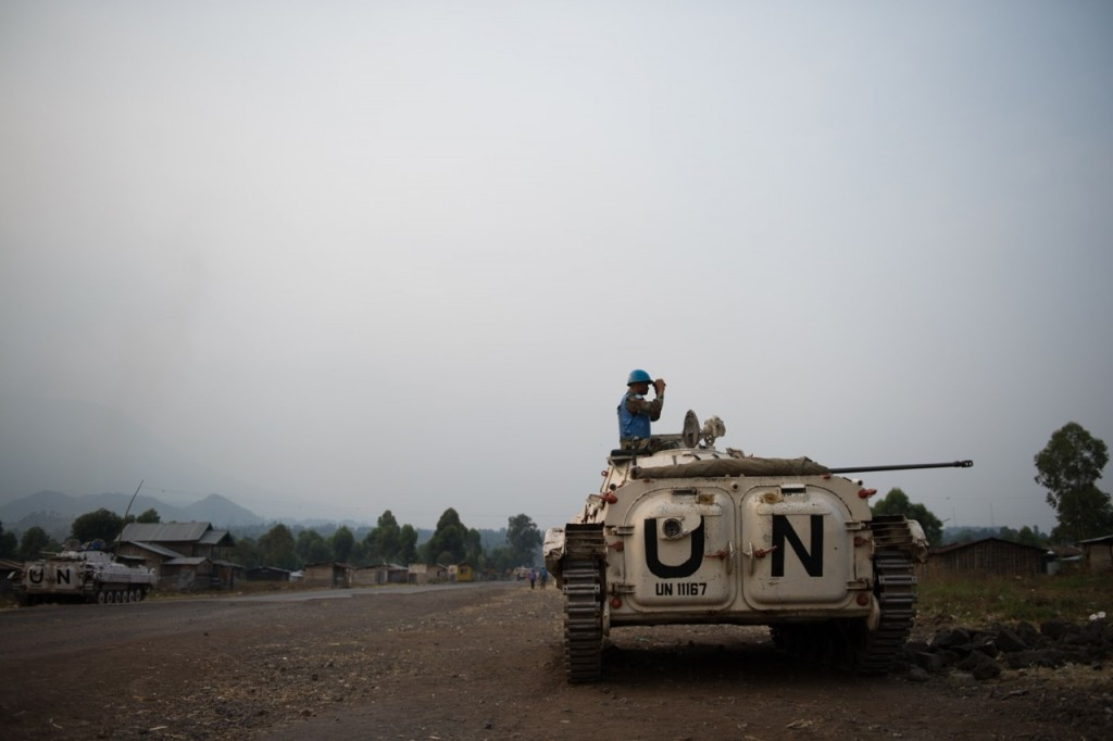 United Nations peacekeepers man a position in a BMP in Kanyarucinya on the outskirts of Goma in the east of the Democratic Republic of the Congo on July 14, 2013. [PHIL MOORE[