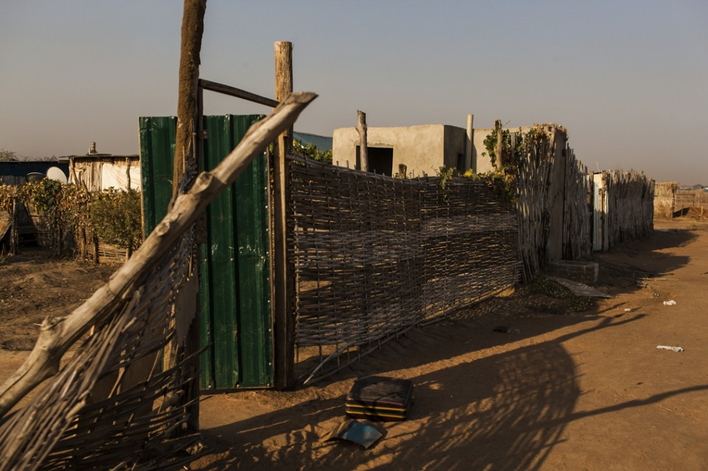 The entire neighborhood has been left abandoned as people fled to the UN compound in Tong Ping and are still fearful to return to their homes only a short distance away in Munuki West in Juba, South Sudan, January 19, 2014.