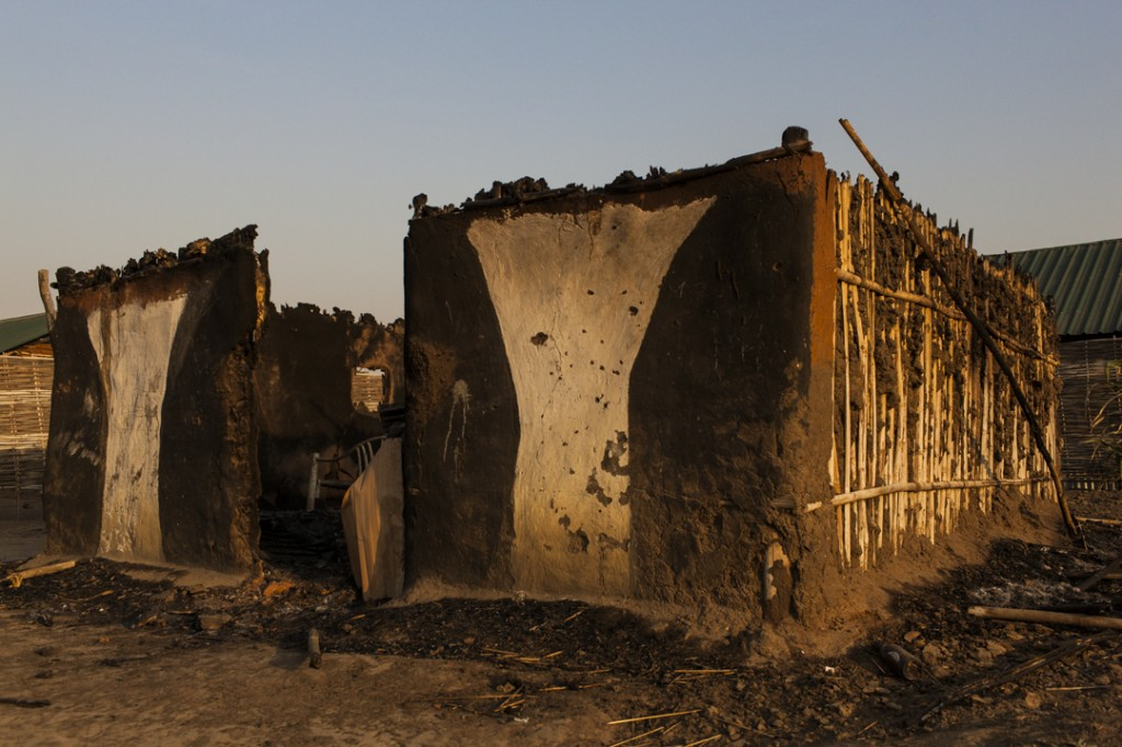 On December 16, SPLA government soldiers from the Dinka tribe filled the tukul with Nuer, opened fire on the civilians and then burned the home in Munuki West, Juba, South Sudan, January 19, 2014.