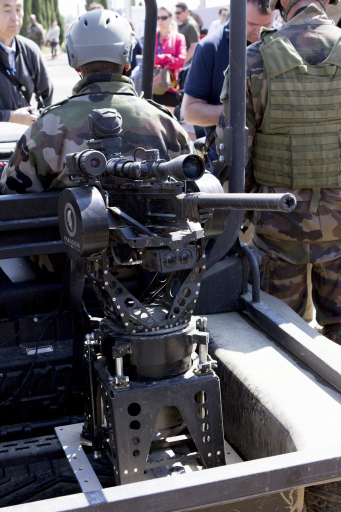 A mockup weapon mounted on Paradigm's Talon gyro-stabilized platform system, with a PEARL reactive localization system also attached.