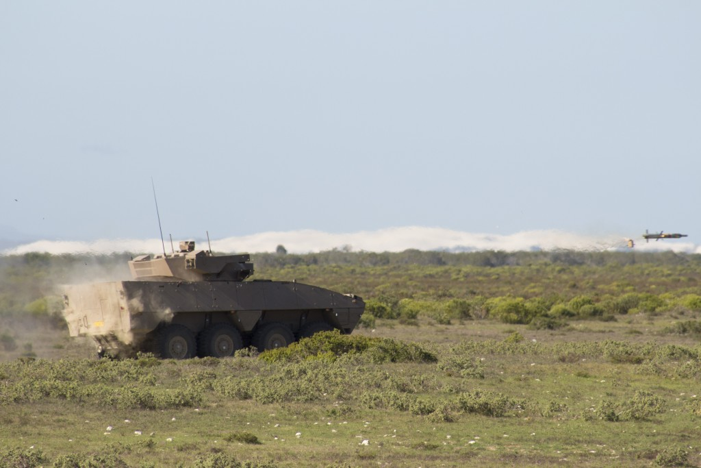 Rheinmetall Denel Defence Day - A Badger IFV fires the Ingwe anti-tank missile at a static target. ADR/JOHN STUPART
