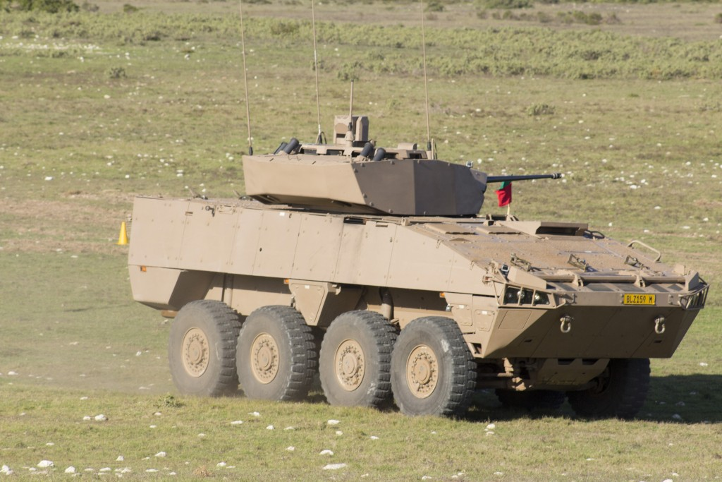 Rheinmetall Denel Defence Day - A Badger IFV enters the firing range to engage targets with its Denel GI-30 30mm cannon. ADR/JOHN STUPART