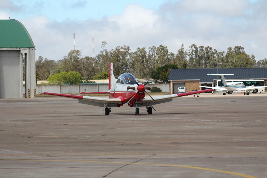 The SAAF Pilatus PC-7 MkII trainer. Cadet pilots must first cut their teeth on this aircraft before graduating onto the rest of the air force's inventory, ranging from C130 haulers to Gripen fighter jets. ADR/JOHN STUPART