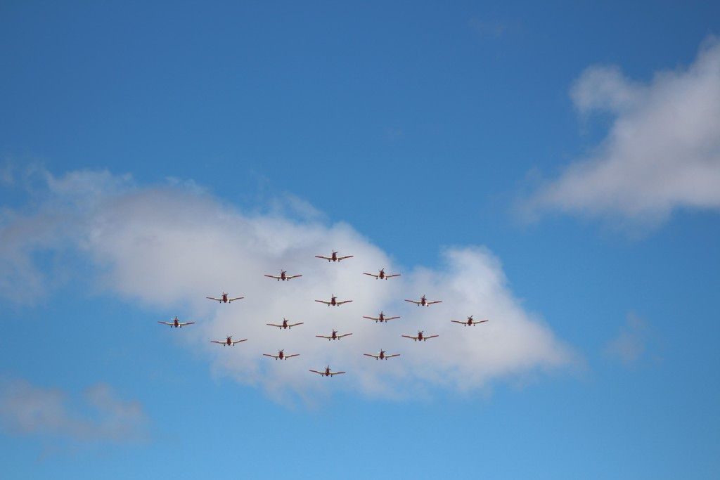 SAAF Pilatus PC-7 MkII trainers performing a flypast at the beginning of the parade.