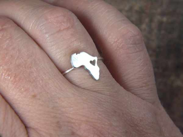 Africa Map Ring Heart