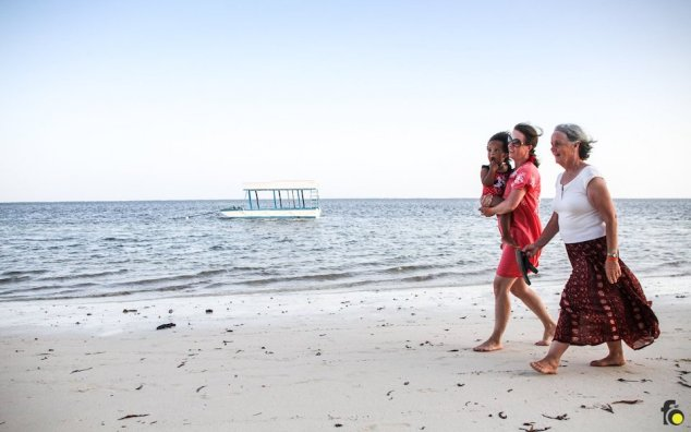 Mothers and daughters enjoying Bamburi Beach on New Year's Eve, 31 December 2017.